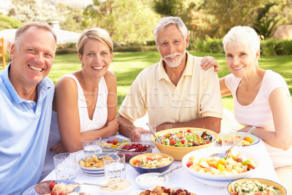 Adult Son And Daughter Enjoying Meal In Garden With Senior Paren Stock photo © monkey_business