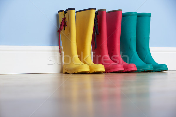Wellingtons lines up against wall Stock photo © monkey_business