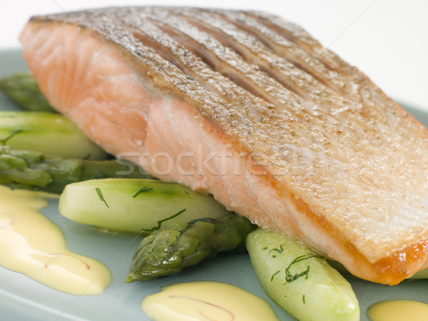 Crisp Fried Salmon Supreme with Cucumber Asparagus and Hollandai Stock photo © monkey_business