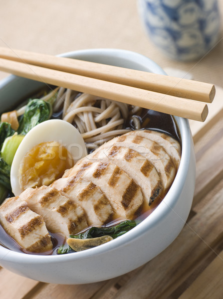 Chargrilled Chicken Soba Noodle and Miso Soup Stock photo © monkey_business