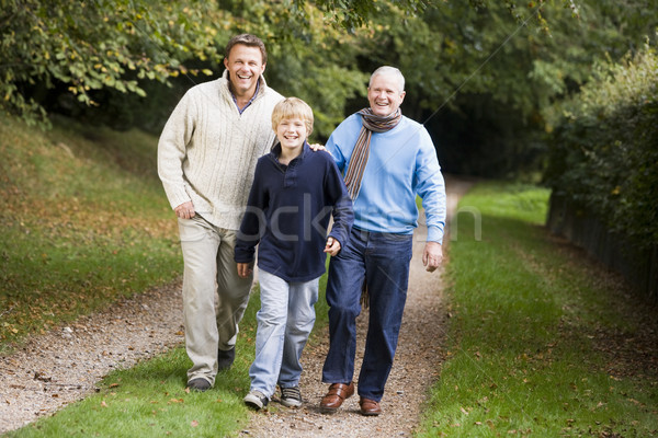Grand-père marche fils petit-fils bois famille Photo stock © monkey_business