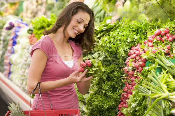 Stock photo: Woman shopping in produce section