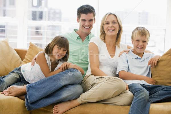 Foto d'archivio: Famiglia · seduta · soggiorno · sorridere · ragazza · bambini