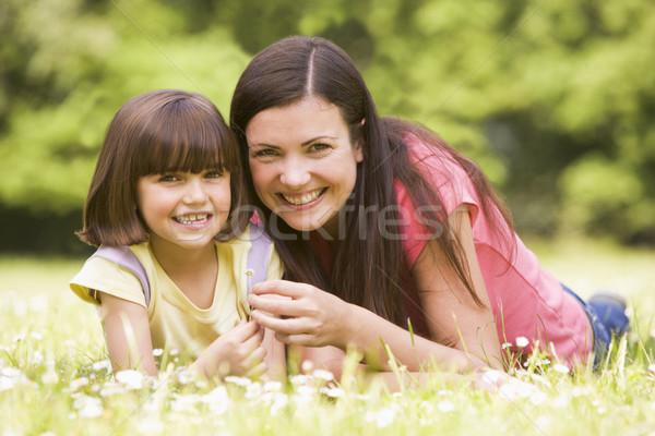 Stockfoto: Moeder · dochter · buitenshuis · bloem · glimlachend · gelukkig