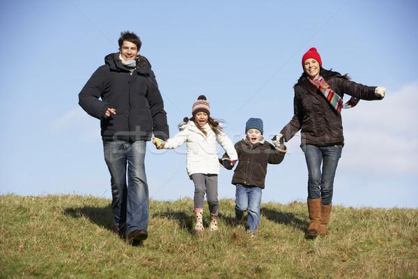Foto stock: Familia · ejecutando · parque · hombre · feliz · nino