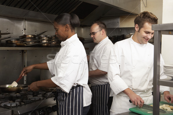 Team Of Chefs Preparing Food In Restaurant Kitchen Stock photo © monkey_business