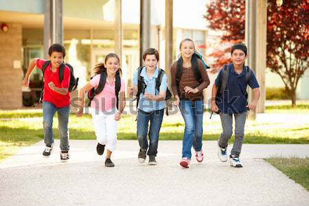 Dzieci w wieku szkolnym domu czasu dzieci szczęśliwy edukacji Zdjęcia stock © monkey_business
