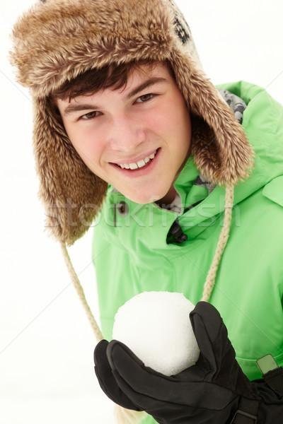 雪玉 着用 毛皮 帽子 ストックフォト © monkey_business