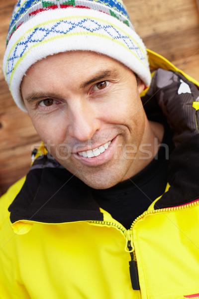 Középkorú férfi hideg időjárás boldog tél ruházat Stock fotó © monkey_business