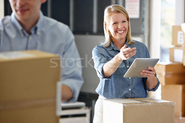 Manager Using Tablet Computer In Distribution Warehouse Stock photo © monkey_business