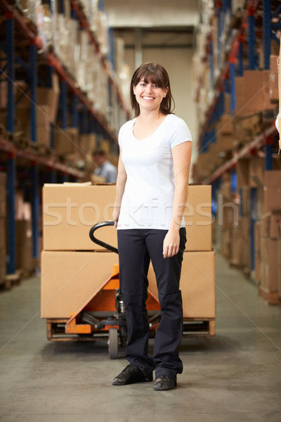 Businesswoman Pulling Pallet In Warehouse Stock photo © monkey_business