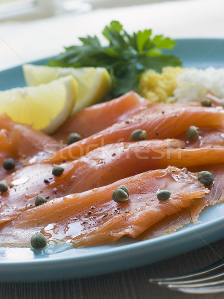Scottish Smoked Salmon with Lemon Capers and Egg Stock photo © monkey_business