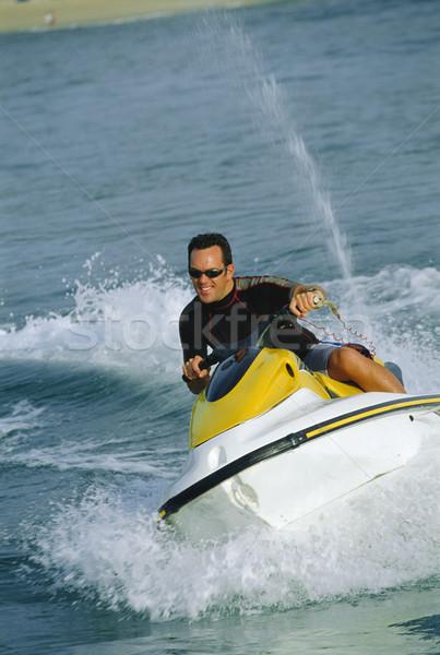 Foto stock: Hombre · jet · ski · mar · sonriendo · vacaciones · color