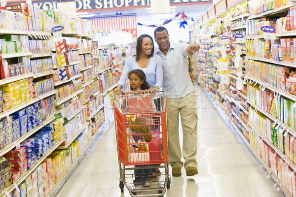 Photo stock: Jeunes · famille · épicerie · Shopping · supermarché · femme