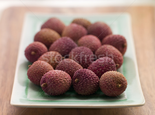 Plate Of Fresh Lychees Stock photo © monkey_business