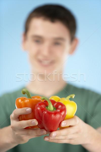 Fresco pimentas menino sorridente Foto stock © monkey_business
