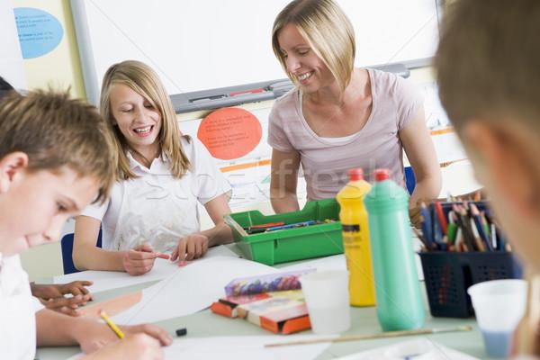 Stock foto: Schulkinder · Lehrer · Kunst · Klasse · Frau · Schule