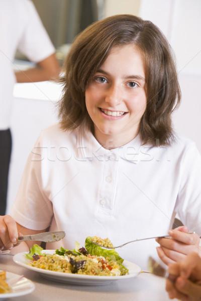 Stockfoto: Schoolmeisje · genieten · lunch · school · cafetaria · meisje