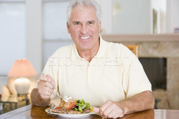 Сток-фото: человека · здорового · счастливым · еды · улыбаясь