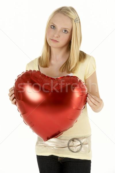 Stockfoto: Tienermeisje · ballon · hart · schoonheid · tiener