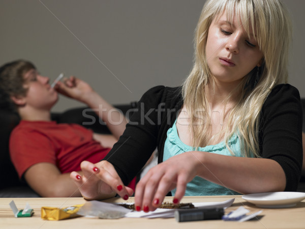 Teenage Couple Taking Drugs At Home Stock photo © monkey_business