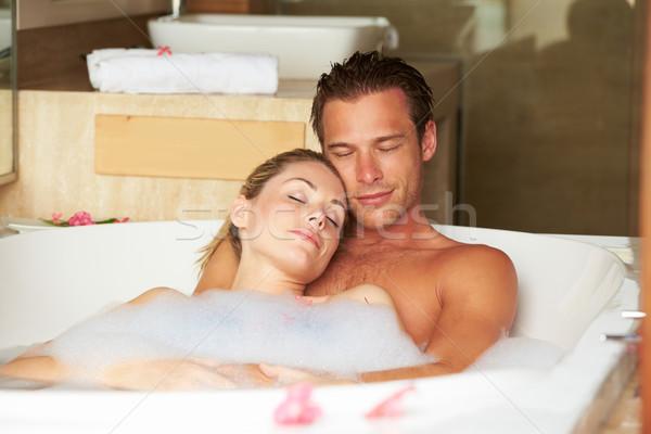 カップル リラックス 泡風呂 一緒に 愛 幸せ ストックフォト © monkey_business