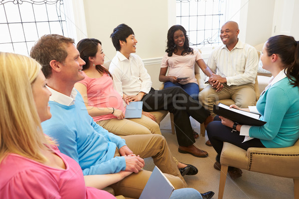 Pregnant Women With Partners At Ante Natal Class Stock photo © monkey_business