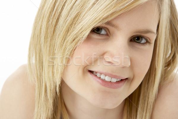 Foto stock: Estudio · retrato · sonriendo · cara · feliz