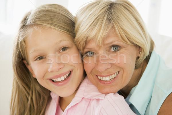 Stok fotoğraf: Büyükanne · torun · gülen · aile · kız · çocuk
