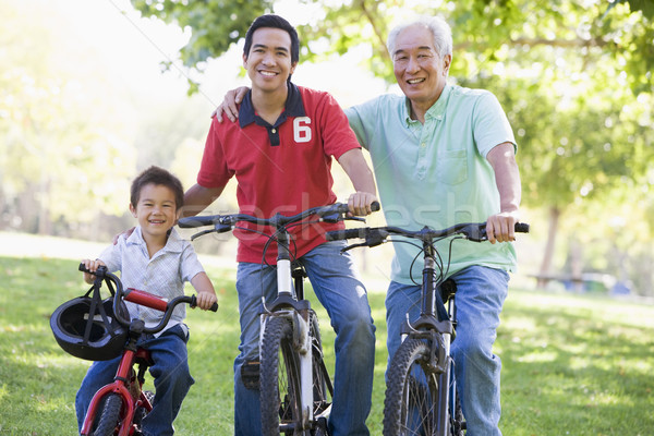 Grandfather son and grandson bike riding Stock photo © monkey_business