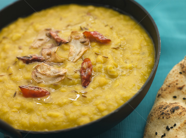 Bowl of Tarka Dal with Naan Bread Stock photo © monkey_business