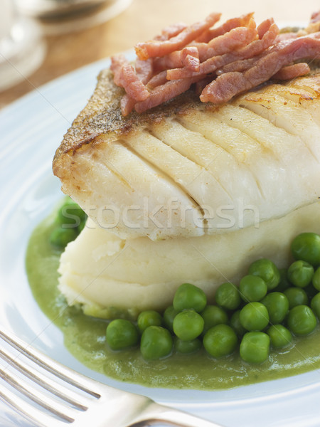 Roasted Cod Fillet with Mash Potato Peas and bacon Stock photo © monkey_business
