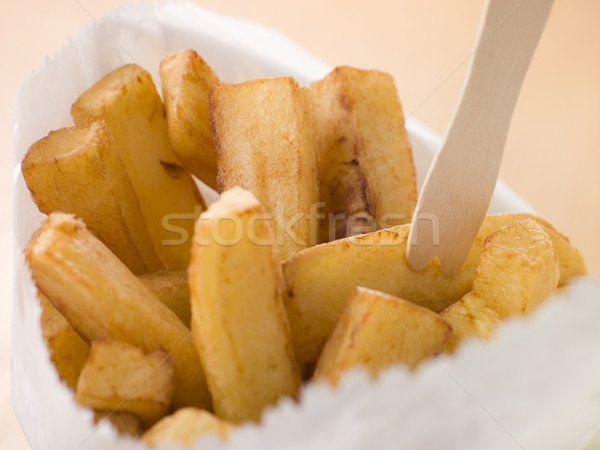 Chip Shop Chips in a Bag with a Wooden Fork Stock photo © monkey_business