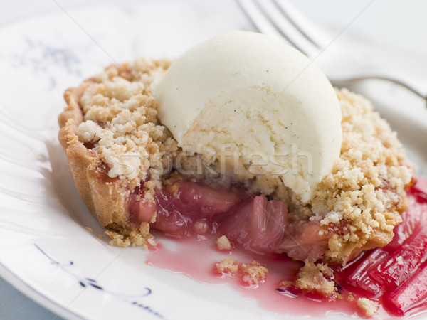 Rhubarb Crumble Tart with Vanilla Ice Cream Stock photo © monkey_business