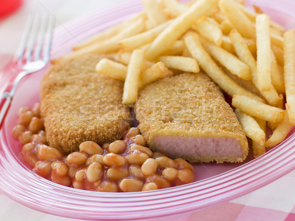 Breadcrumbed Luncheon Meat with Baked Beans and Chips Stock photo © monkey_business