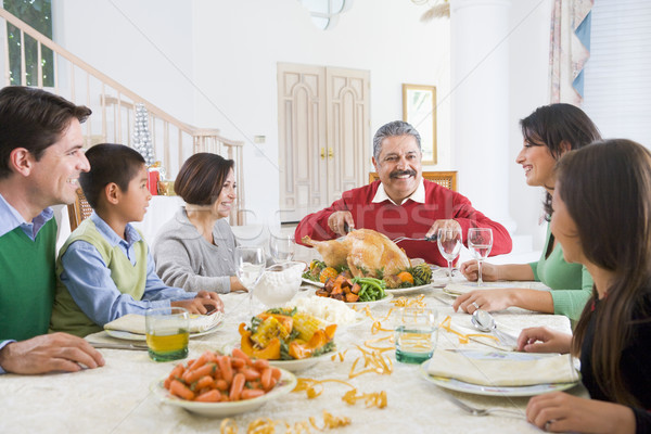 Foto stock: Família · juntos · natal · jantar · comida