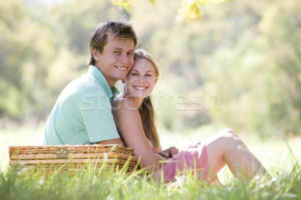 Stockfoto: Paar · park · picknick · glimlachend · man · veld