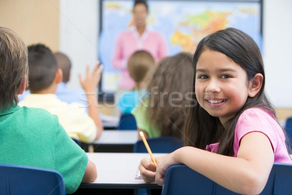 Stock fotó: Alapfokú · osztály · földrajz · nő · gyerekek · térkép
