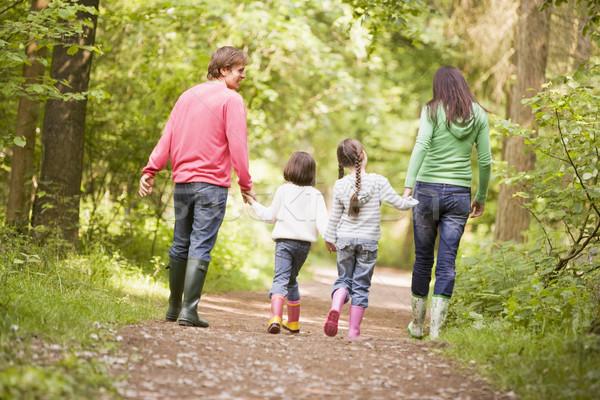 Foto stock: Família · de · mãos · dadas · homem · criança · retrato