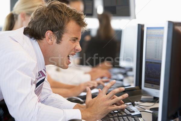 Stock fotó: Stock · kereskedő · csalódott · számítógép · üzletember · dolgozik