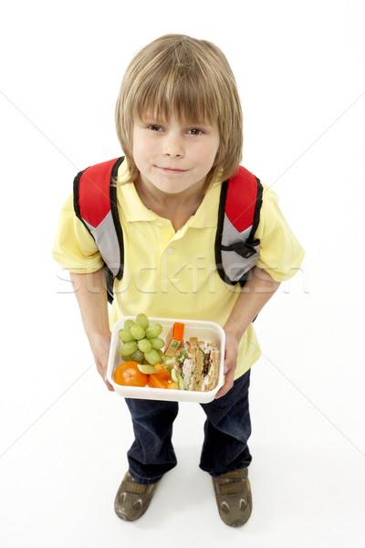 Stúdió portré mosolyog fiú tart ételhordó doboz Stock fotó © monkey_business