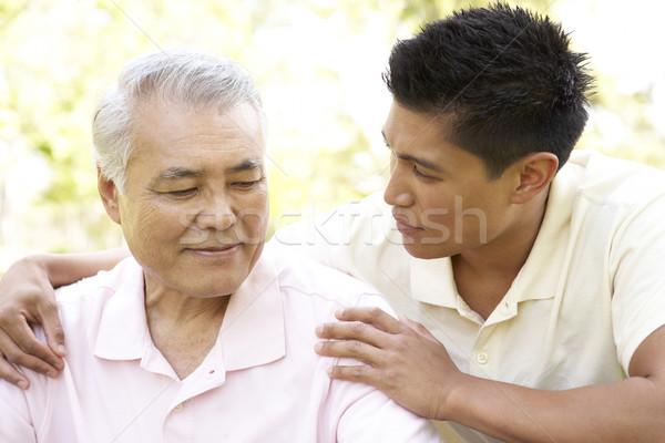 Zdjęcia stock: Ojciec · dorosły · syn · parku · rodziny · ogród