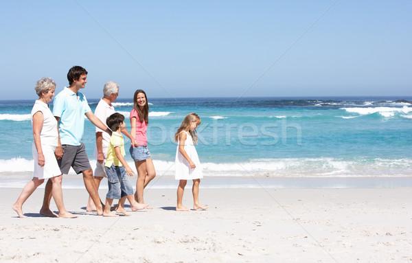 Stock foto: Drei · Generation · Familie · Fuß · Sandstrand · Frau