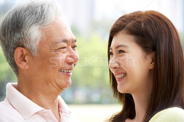Foto stock: Retrato · chino · padre · adulto · hija · parque