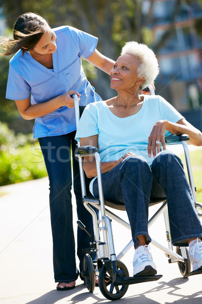 Carer Pushing Senior Woman In Wheelchair Stock photo © monkey_business
