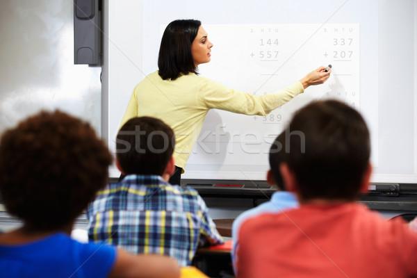Tanár áll osztály interaktív tábla nő Stock fotó © monkey_business