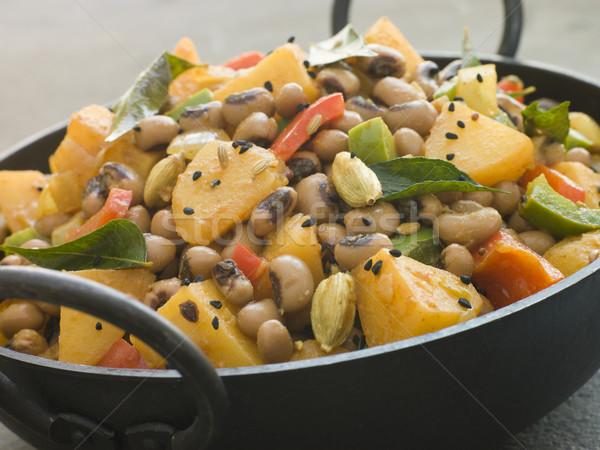 Fekete bab krumpli curry edény belső Stock fotó © monkey_business