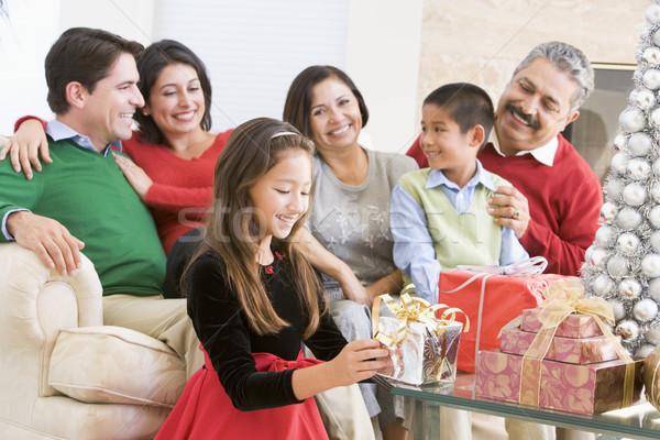 Foto stock: Família · sessão · sofá · natal · menina · homens