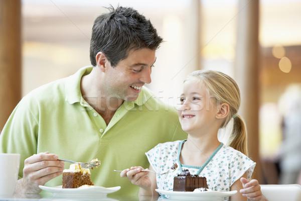 Stockfoto: Vader · dochter · lunch · samen · mall · familie