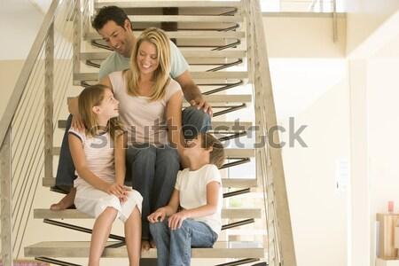 Due giovani ragazze seduta scala home Foto d'archivio © monkey_business